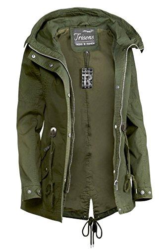 Trisens Damen Jacke ÜBERGANGSJACKE Trenchcoat Kapuze 100% Baumwolle LEICHT KURZ, Größe:S, Farbe:Olive - 4