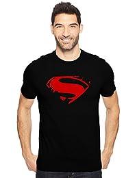 CHRYSOLITE Superman Fan Art Men's Cotton Round Neck Tshirt In Black & Royal Blue
