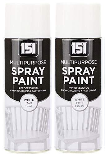 2 x 400 ml 151 Mehrzweck-Sprühfarbe für Holz, Metall, Ziegel, Kunststoff, Weiß matt (- 2x2-metall-ziegel)