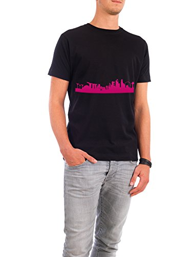 "Design T-Shirt Männer Continental Cotton ""Singapur 04 Pink Skyline Print monochrome"" - stylisches Shirt Abstrakt Städte Städte / Singapur Architektur von 44spaces Schwarz"