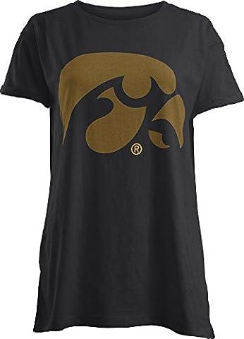 NCAA Iowa Hawkeyes Junior's Big Wash Short Sleeve Boyfriend T-Shirt, Large, Black