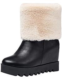 0f5b7ceff02c36 YE Damen Plateau Stiefeletten Keilabsatz High Heels Ankle Boots  Schlupfstiefel Bequeme Kurze Stiefel mit Fell Boots…