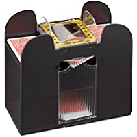 Relaxdays Kartenmischer Elektrisch, 6 Decks, batteriebetrieben, Kartenmischmaschine, f. Pokern, Rommé und Skat, Schwarz