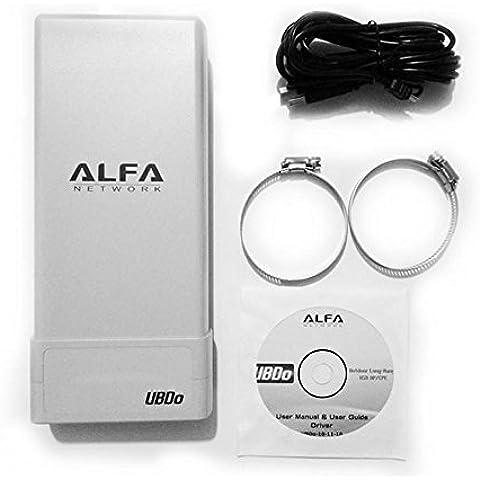 Alfa Network UBDO-N8 - Adaptador WiFi USB 802.11b / g / n, largo alcance, radio, tipo N conector de antena externa, cable de 8