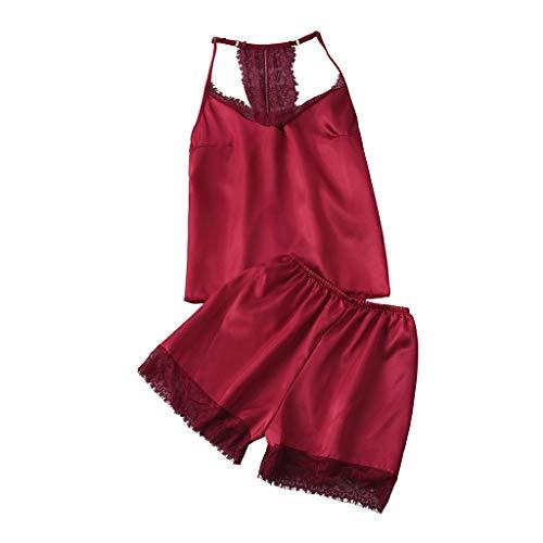 TTLOVE Sexy FüR Frauen Fleck Lace Silk Dessous Nachthemd Pyjamas Set Camisole NachtwäSche Mit Spitzennaht Satin Spitze Negligee Babydoll Zweiteilige ReizwäSche Lingerie Shorts (rot,XL)