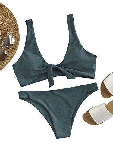 SOLYHUX Mujer Ropa de Baño Vestido de Playa Set Biquini Con Cordón En La Parte Delantera Halter, Verde Tamaño S