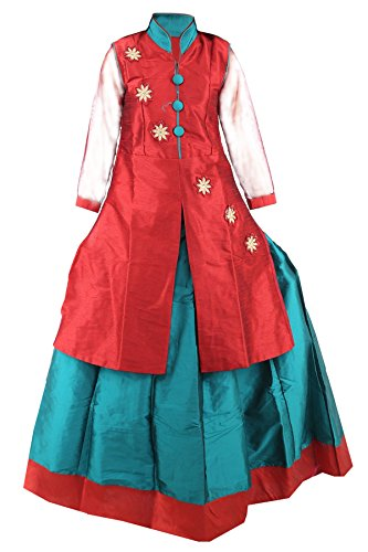 JBN Creation Girls Embroidered Jacket And Lehenga Set For Kids (Color Maroon...