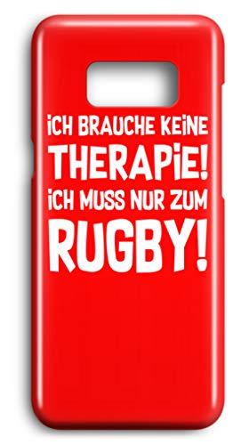 shirt-o-magic Handyhülle Rugbyspieler: Therapie? Lieber Rugby! - Case -Samsung S8-Rubinrot Samsung Rugby