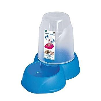 Distributeur automatique d'eau ou de nourriture pour chat ou chien ou petit rongeur, taille Médium 1,6 litres pour eau ou croquettes, avec patins anti dérapants,
