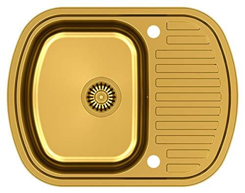 Stahlwaschbecken Ray 116 aus Edelstahl mit PVD-Beschichtung / Einbauspüle / Küchenspüle / Becken / Gebürstete Edelstahl / Spüle / Unterbau / Glatt / langlebig / rostfrei / Farbe-Gold / PVD-Beschichtung / Abtropffläche / mit Blende / 1 Becken