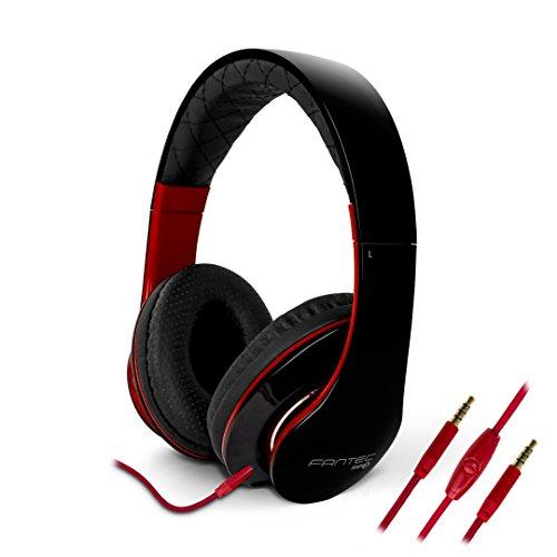 FANTEC SHP-3 On Ear Stereo Kopfhörer  (Headset mit Freisprechfunktion ohraufliegend, integriertes Mikrofone, 1-Tasten Fernbedienung, geplosteter Bügel, atmungsaktive Ohrmuscheln, abnehmbares verwicklungsfreies Textilkabel, 3,5 mm Klinkenstecker) schwarz/rot