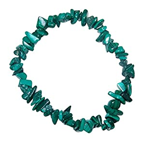 Malachit Splitter Armband auf elastischem Band aufgezogen.(3537)