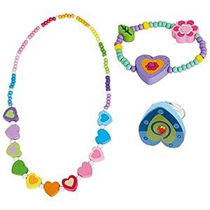 BINO 3 TLG. Set Holzschmuck Mädchenschmuck Kinderschmuck Motiv Regenbogen Herz – Halskette Armband Herz Lila Ring