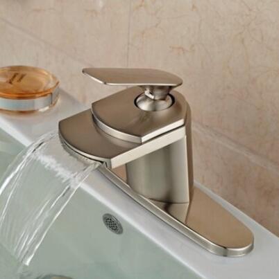 Senlesen Nickel Brushed Single Handle Waterfall Bathroom Sink Vessel faucet