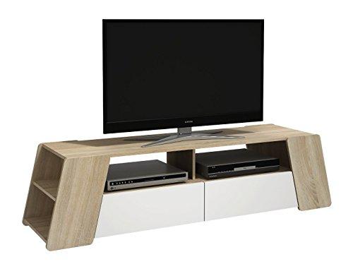 Alsapan Meuble TV, Bridge, Panneau de Particule/MDF, Blanc/Bois, 160,7 x 42,6 x 40,4 cm