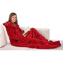 """ZOLLNER® Batamanta / manta con mangas de coralina, 170x200 cm, perfecta para el sofá, color rojo, disponible en otros colores, del especialista en textiles para hostelería, serie """"Relax"""""""