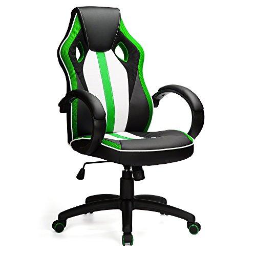 Leder Computer Schreibtisch Stuhl (Bürostuhl Racing Design Gaming Gamer Computer-Schreibtisch Stuhl (grün))