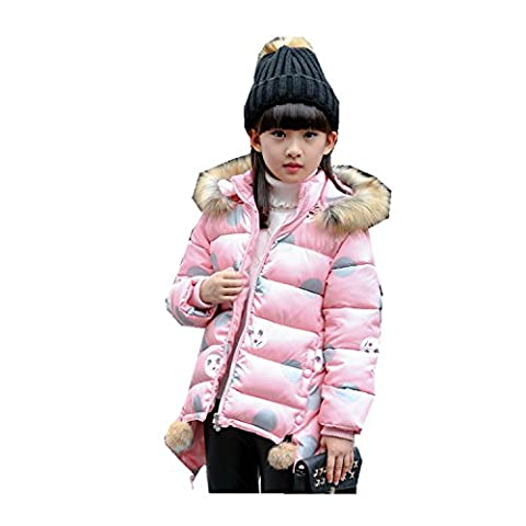 Kids Girls Parka Jacket Paffa Coat Outwear Warm Thick 3-12 Years (5T, Pink)