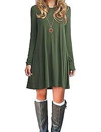 Azue Damen Einfaches Kleider Basic Casual A-Linie Skaterkleid Freizeit Kleider Fließendes Kleid Langarm Beiläufige Shirt Lose Rundhals Tunika