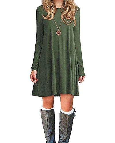 Azue Damen Einfaches Kleider Basic Casual A-Linie Skaterkleid Freizeit Kleider Fließendes Kleid Langarm Beiläufige Shirt Lose Rundhals Tunika Grün EU 42(Tag ()
