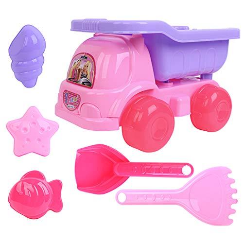 Haunen Sandspielzeug, 6 teiliges Set Strand-Sand-Spielzeug mit Strandbuggy, Schaufel, Harke und Förmchen, Sandspielzeug Set für Kinder Mädchen ab 2 Jahre