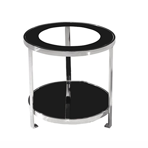 WLHW Baldas flotantes Estante Tea Rack Coffee Table Sofá Esquina de Acero Inoxidable Vidrio Templado Desmontable (50x53cm)