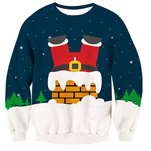 TUONROAD Maglione Dinosauro Abbigliamento Christmas Felpe Unisex Pullover Girocollo Decorazioni Natalizie Fiocco di Neve Candy Sock Regali Manica Lunga Casual Xmas Animal Elf Stampa 3D Sloth Jumper