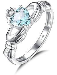 15e51421580c Anillo Claddagh de plata de ley 925 y con diamante de imitación azul