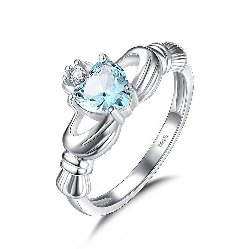 Bleu cristal zirconium Bague de Claddagh en argent sterling 925 pour femme avec pierre en forme de cœur