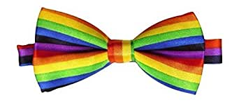 Mens Satin Rainbow Adjustable Bow Tie One Size Fits All