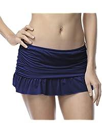 DUSISHIDAN Damen Baderock Sexy Mini Bikini Rock Vintage Elastische Low Taille Strandrock mit Innenslip