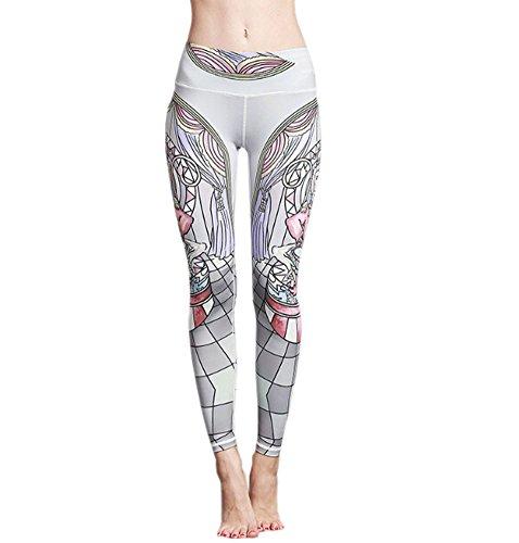 ECHERY Damen Alltag Tanzen-Aktiv-Leggings Gedruckt Nahtlose Yoga-Fitness-Strumpfhose Hose Circus Monkey XL