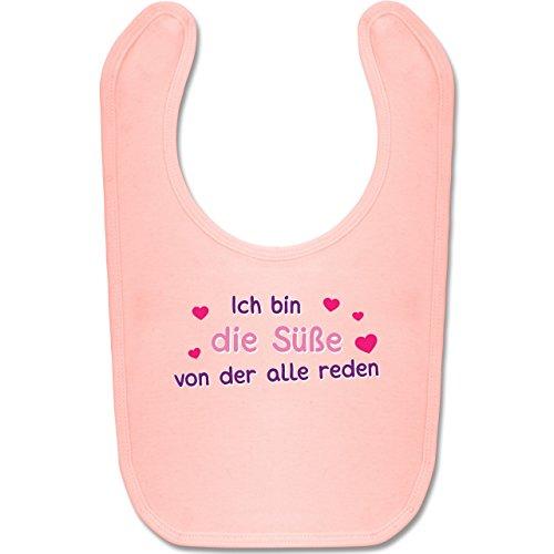 Shirtracer Sprüche Baby - Ich bin die Süße von der alle reden - Unisize - Babyrosa - BZ12 - Baby Lätzchen Baumwolle