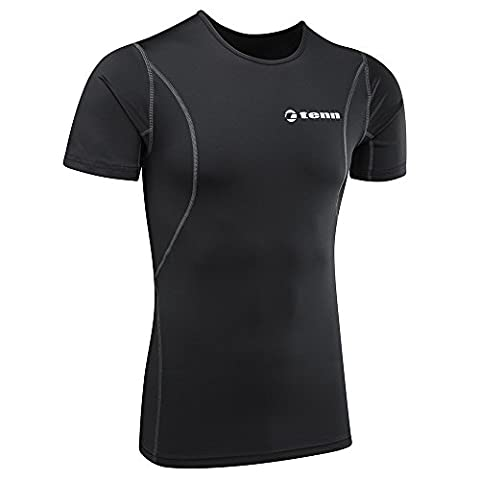 Tenn-Outdoors Men's Compression Fit Short Sleeve Base Layer - Black, 44-46 Inch (X-Large)