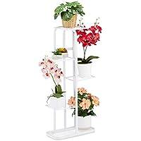Relaxdays Escalera de Metal para Flores con 5 estantes, con Revestimiento de Polvo, 97 x 43,5 x 24,5 cm, Color Blanco, 1 Unidad
