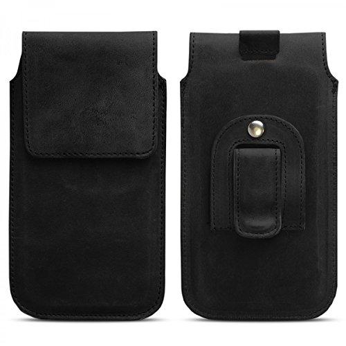 ROYALZ Schutzhülle für Elephone S3 Hülle Leder Gürtel Tasche Smartphone-Zubehör Slim Case Rausziehhilfe Gürtelclip Schwarz