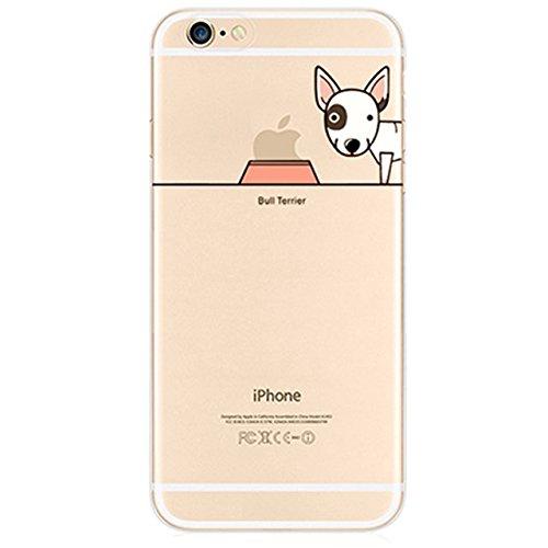 iPhone 6 6S Case, Vandot [ Animale Stile ] Esclusivo Ultrathin Trasparente TPU Cool Dog Design Custodia, Protettivo Silicone Skin Cover Per Apple iPhone 6 Plus / 6S Plus 5.5 Pollici - Adorabile Pet Cucciolo Bull Terrier