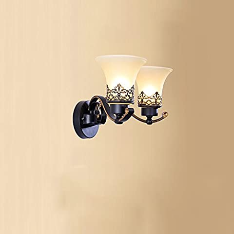 Single Head / 2 Head Style Européen Bedside Bedroom Iron Applique murale American Restaurant Lampe Murale Aisle Staircase Decorative Wall Light ( conception : 2 )