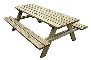 Tavolo con panche da pic nic in legno cm 200x148x70 h for Panchine da giardino amazon