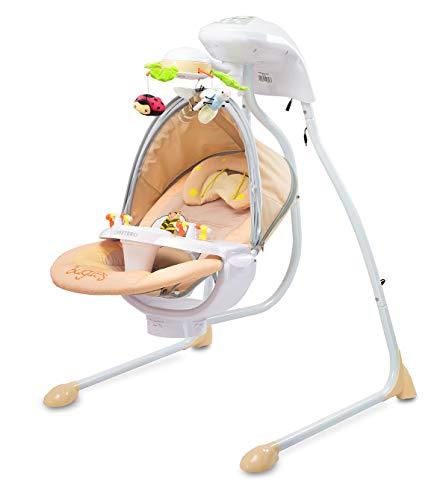CARETERO Bugies Babyschaukel Babywippe Schaukelwippe drehbarer Sitz Timer elektronisches Mobile mit Lichern, Farbe: Beige