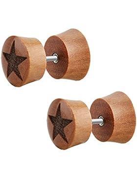 2 Stück Holz Fake Plug Ohrstecker Stern Laser Braun Ohrring Tunnel Ø 10mm