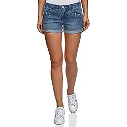 oodji Ultra Mujer Pantalones Cortos Vaqueros Básicos, Azul, ES 44 / XL