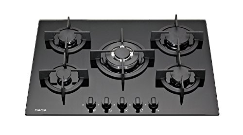 SAGA Elegans X751-B 70cm Built-in 5 Burner Gas on Glass Hob – Black