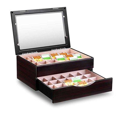 Große Luxus Teebox aus Holz, 48 Fächer mit Schublade