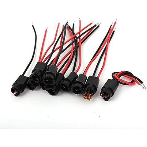 Alambre de la lámpara 10pcs Negro T5 LED de luz de señal de Socket