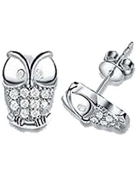 findout Silber Swarovsk Element Crystal Sparkling-Eulen-Bolzen-Ohrringe. für Frauen, Mädchen, (f569)