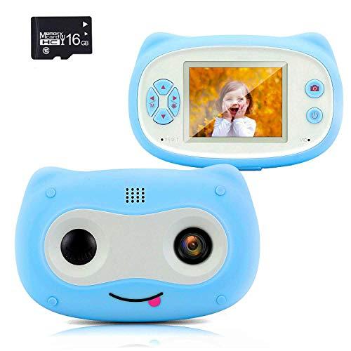 WANGCHAO Cartoon niedlichen Kinderkamera, 2-Zoll-Bildschirm 8MP Aufnahme eingebaute mehrere Cartoon-Bilderrahmen Umweltunterstützung erweitert 32 GB (einschließlich 16 GB-Karte),Blau