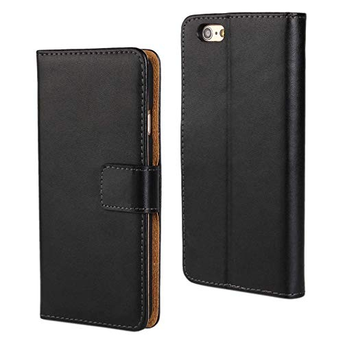1546491af96 DENDICO Funda iPhone 6 Plus / 6s Plus, Negro Piel Case Prima Cuero Carcasa  Estuche