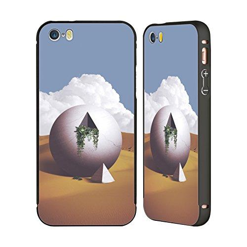 Ufficiale Lacabezaenlasnubes Fiori Surreale Nero Cover Contorno con Bumper in Alluminio per Apple iPhone 5 / 5s / SE Astronauta