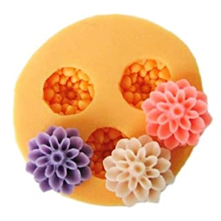Allforhome 3 Cavities 1.5cm Mini Flower Sculpting Silicone Sugar Resin Craft DIY Moulds gum paste Cake Decorating Fondant Mold